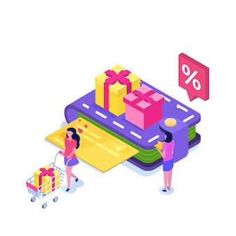 Loyalty card program and customer service in flat design
