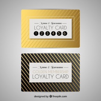 Loyalty card template in golden color