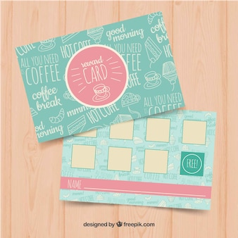 Loyalty card template with coffee coupons