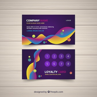 Loyalty card template with colorful style