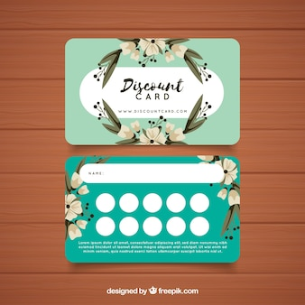 Loyalty card template with floral concept