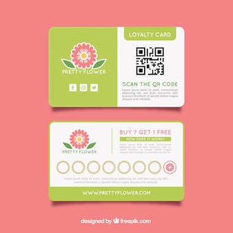 Loyalty card template with floral style