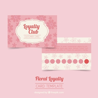 Loyalty card template with flowers