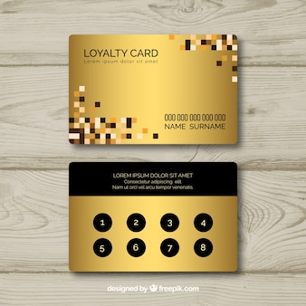 Loyalty card template with golden style