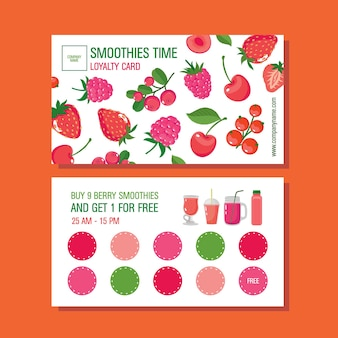Loyalty card with berry smoothies