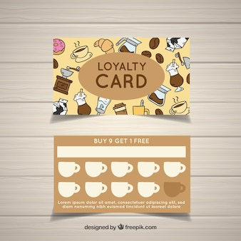 Loyalty card with cofffee