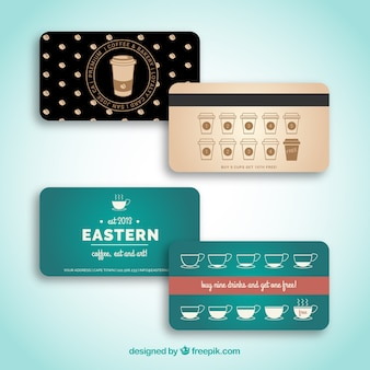 Loyalty cards with coffee