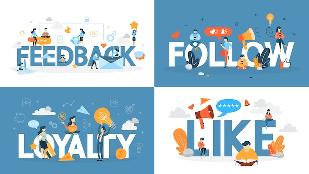 ロイヤルティコンセプトバナーセット。顧客との関係を構築し、フィードバックと肯定的な評価を得ることのアイデア。消費者とのコミュニケーション。フラットのベクトル図