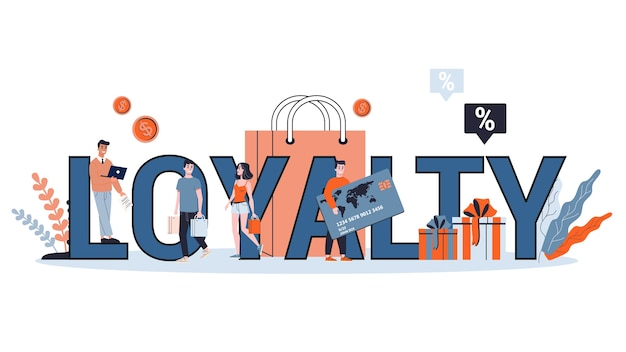 Loyalty and customer retention concept. idea of communication and relationship with customers.  illustration