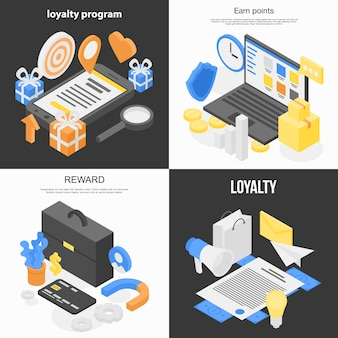 Loyalty program banner set, isometric style