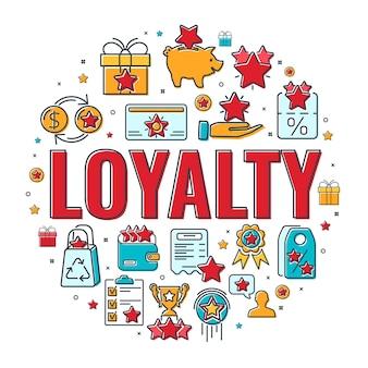Баннер программы лояльности с типографикой и плоскими значками цветной линии. вознаграждение клиентов бонусами. подарок, купоны на скидку, прирост бонуса, обменные пункты, карта лояльности. изолированные