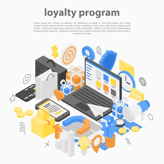 Loyalty program concept, isometric style