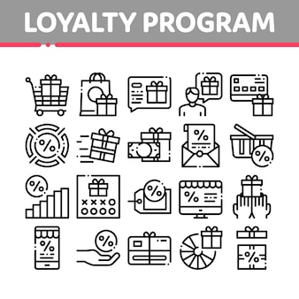 Loyalty program for customer icons set