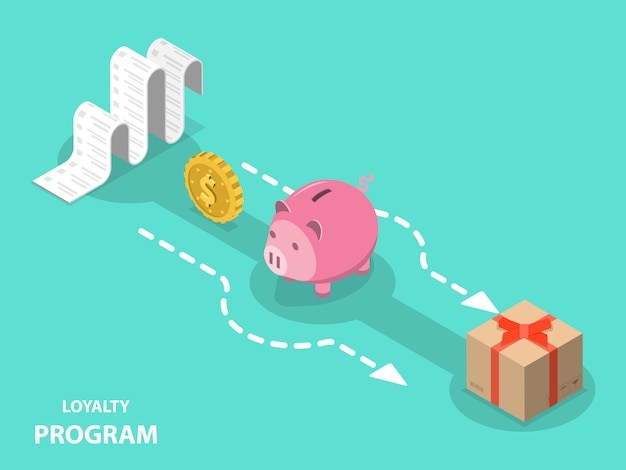 Loyalty program flat isometric  concept.