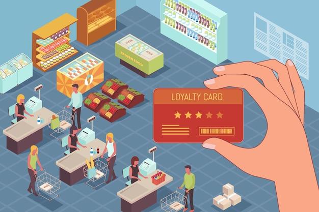 ポイントプログラムのイラスト。スーパーマーケットのトレーディングホールで人間の手でポイントカードとコンセプト