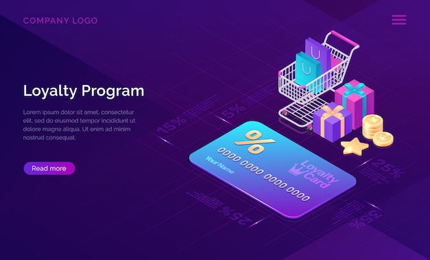 Loyalty program, isometric discount card banner