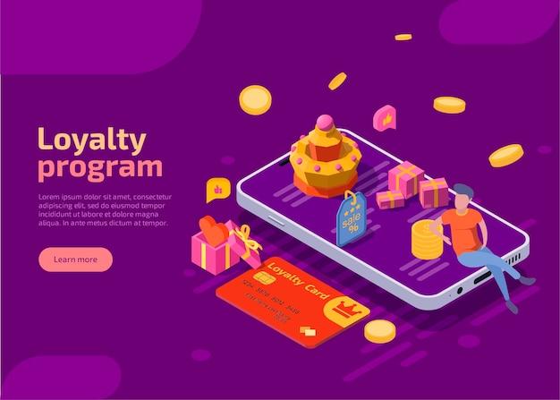 Программа лояльности изометрическая иллюстрация награды или бонуса для постоянных клиентов