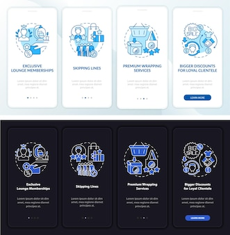 Loyalty program perks dark, light onboarding mobile app page screen. walkthrough 4 steps graphic instructions with concepts. ui, ux, gui vector template with linear night and day mode illustrations