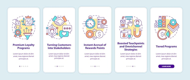 Loyalty program tendencies onboarding mobile app page screen. reward program walkthrough 5 steps graphic instructions with concepts. ui, ux, gui vector template with linear color illustrations