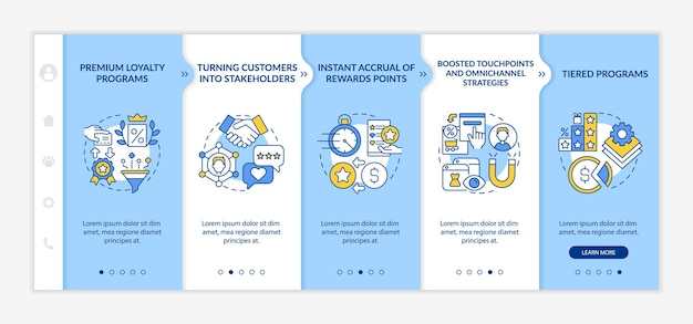 Loyalty program tendencies onboarding vector template. responsive mobile website with icons. web page walkthrough 5 step screens. reward program color concept with linear illustrations