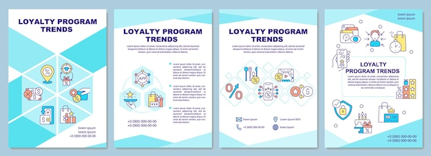 ロイヤルティプログラムトレンドパンフレットテンプレート。報酬システムの傾向。チラシ、小冊子、リーフレットプリント、線形アイコンのカバーデザイン。プレゼンテーション、年次報告書、広告ページのベクターレイアウト