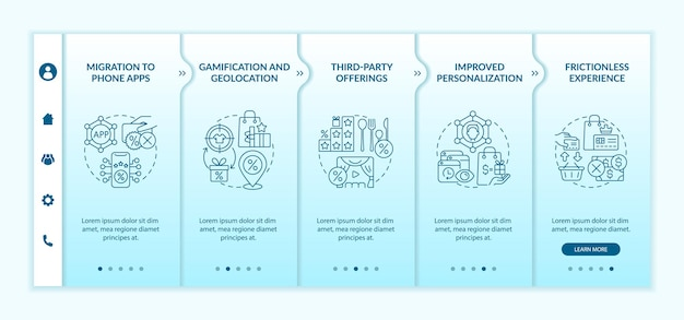 Loyalty programs modern trends onboarding vector template. responsive mobile website with icons. web page walkthrough 5 step screens. bonus system tendencies color concept with linear illustrations