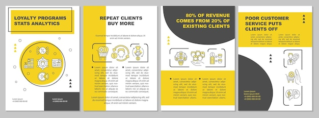 Loyalty programs statistics analytics brochure template. flyer, booklet, leaflet print, cover design with linear icons. vector layouts for presentation, annual reports, advertisement pages