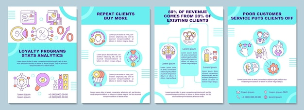 Loyalty programs stats analytics brochure template. flyer, booklet, leaflet print, cover design with linear icons. vector layouts for presentation, annual reports, advertisement pages
