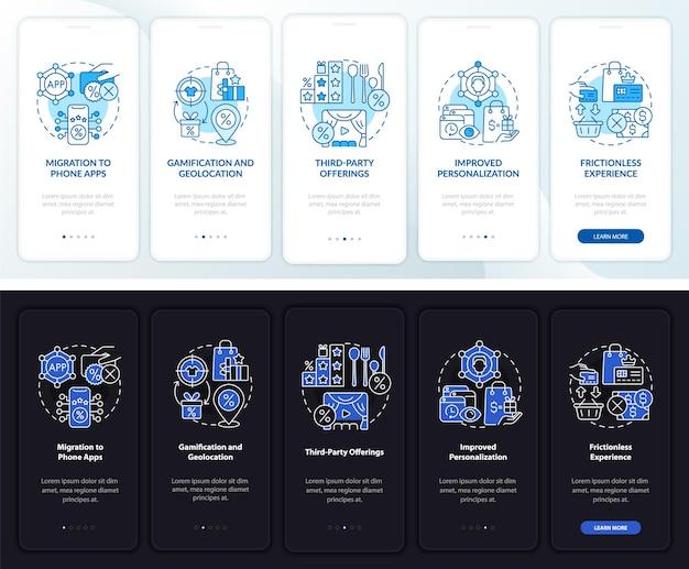 로열티 프로그램 트렌드는 어둡고 밝은 온보딩 모바일 앱 페이지 화면입니다. 개념이 포함된 5단계 그래픽 지침을 연습합니다. 선형 야간 및 주간 모드 일러스트레이션이 있는 ui, ux, gui 벡터 템플릿