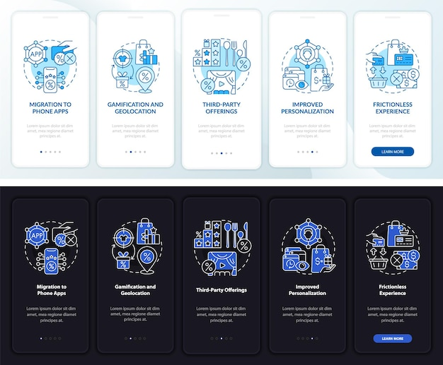 Loyalty programs trends dark, light onboarding mobile app page screen. walkthrough 5 steps graphic instructions with concepts. ui, ux, gui vector template with linear night and day mode illustrations