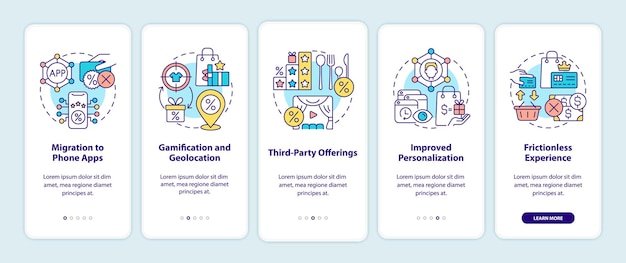 Loyalty programs trends onboarding mobile app page screen. bonus system tendencies walkthrough 5 steps graphic instructions with concepts. ui, ux, gui vector template with linear color illustrations