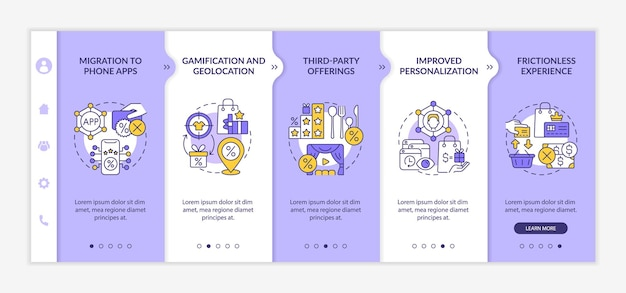 Loyalty programs trends onboarding vector template. responsive mobile website with icons. web page walkthrough 5 step screens. bonus system tendencies color concept with linear illustrations