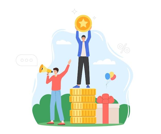 Концепция реферальной программы лояльности. подарки, скидки, награды и бонусы покупателям. мужчина с мегафоном приглашает друзей. социальный медиа маркетинг. векторная иллюстрация