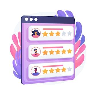 Звезды лояльности. отзывы покупателей и пользователей. система рейтинга сайта, положительные отзывы, оценка голосов. веб-страница с ранжированными личными профилями. векторная иллюстрация изолированных концепции метафоры