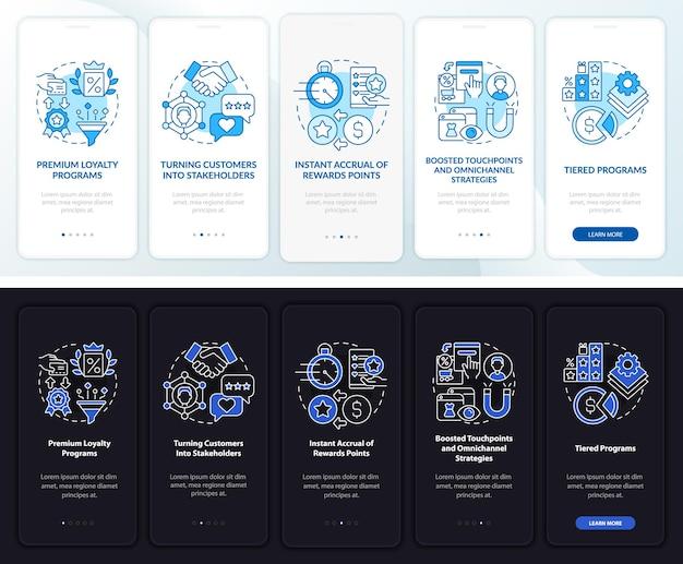 로열티 시스템 트렌드 어둡고 밝은 온보딩 모바일 앱 페이지 화면. 개념이 포함된 5단계 그래픽 지침을 연습합니다. 선형 야간 및 주간 모드 일러스트레이션이 있는 ui, ux, gui 벡터 템플릿