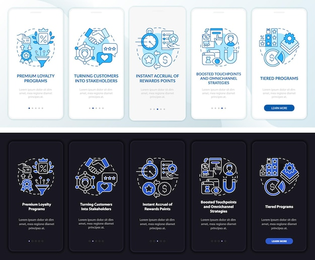Loyalty system trend dark, light onboarding mobile app page screen. walkthrough 5 steps graphic instructions with concepts. ui, ux, gui vector template with linear night and day mode illustrations