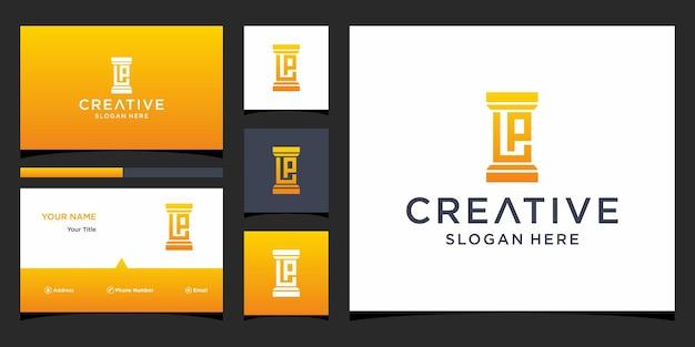 Логотип юридической фирмы lp с шаблоном визитной карточки