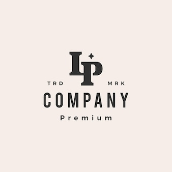 Lp letter mark первоначальный монограмма битник винтажный логотип шаблон