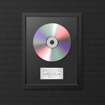 Реалистичные lp и метка в глянцевой черной рамке значок крупным планом изолированы. награда за один альбом. шаблон оформления.