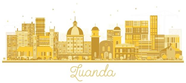 루안다 앙골라 도시 스카이 라인 황금 실루엣입니다. 벡터 일러스트 레이 션. 관광 프레젠테이션, 배너, 현수막 또는 웹 사이트에 대한 간단한 평면 개념. 랜드마크가 있는 루안다 도시 풍경.