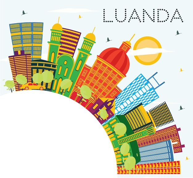색상 건물, 푸른 하늘 및 복사 공간이 있는 루안다 앙골라 도시 스카이라인. 벡터 일러스트 레이 션. 현대 건축과 비즈니스 여행 및 관광 개념입니다. 랜드마크가 있는 루안다 도시 풍경.