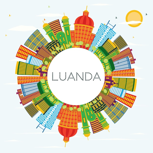 Luanda angola city skyline with color buildings, blue sky and copy space. vector illustration. business travel and tourism concept with modern architecture. luanda cityscape with landmarks.