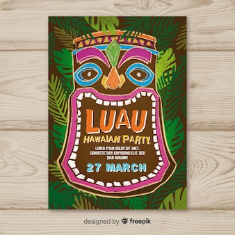 Luau party blackboard tiki mask poster template