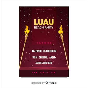 Luau party flame torches poster template