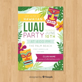 Luau party flat colorful poster template