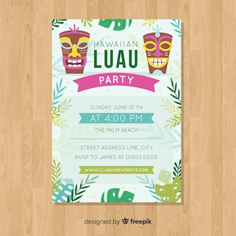 Luau party flat colorful tiki masks poster template