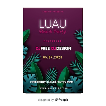 Luau party leaves poster template