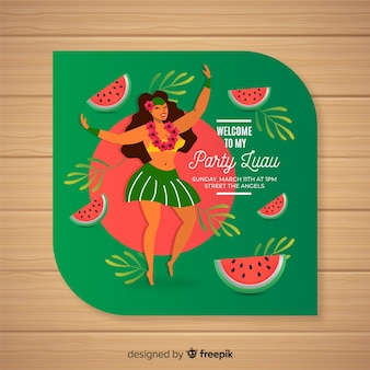 Luau watermelon invitation template