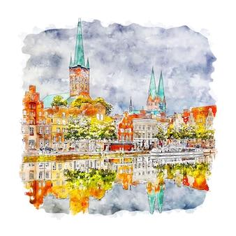 Lubeck germany watercolor sketch