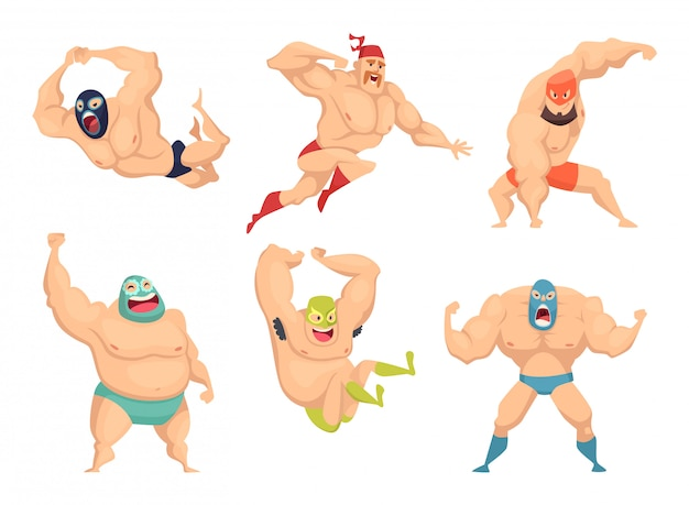 Lucha libre characters, mexican wrestler fighters in mask macho libros martial cartoon mascot